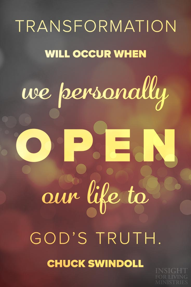 Transformation will occur when we personally open our life to God