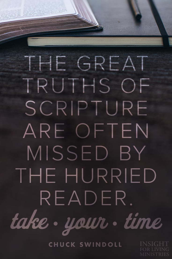 The great truths of Scripture are often missed by the hurried reader.