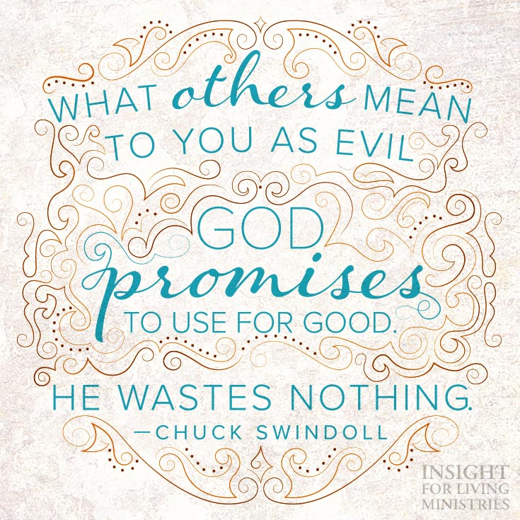 What others mean to you as evil God promises to use for good. He wastes nothing.