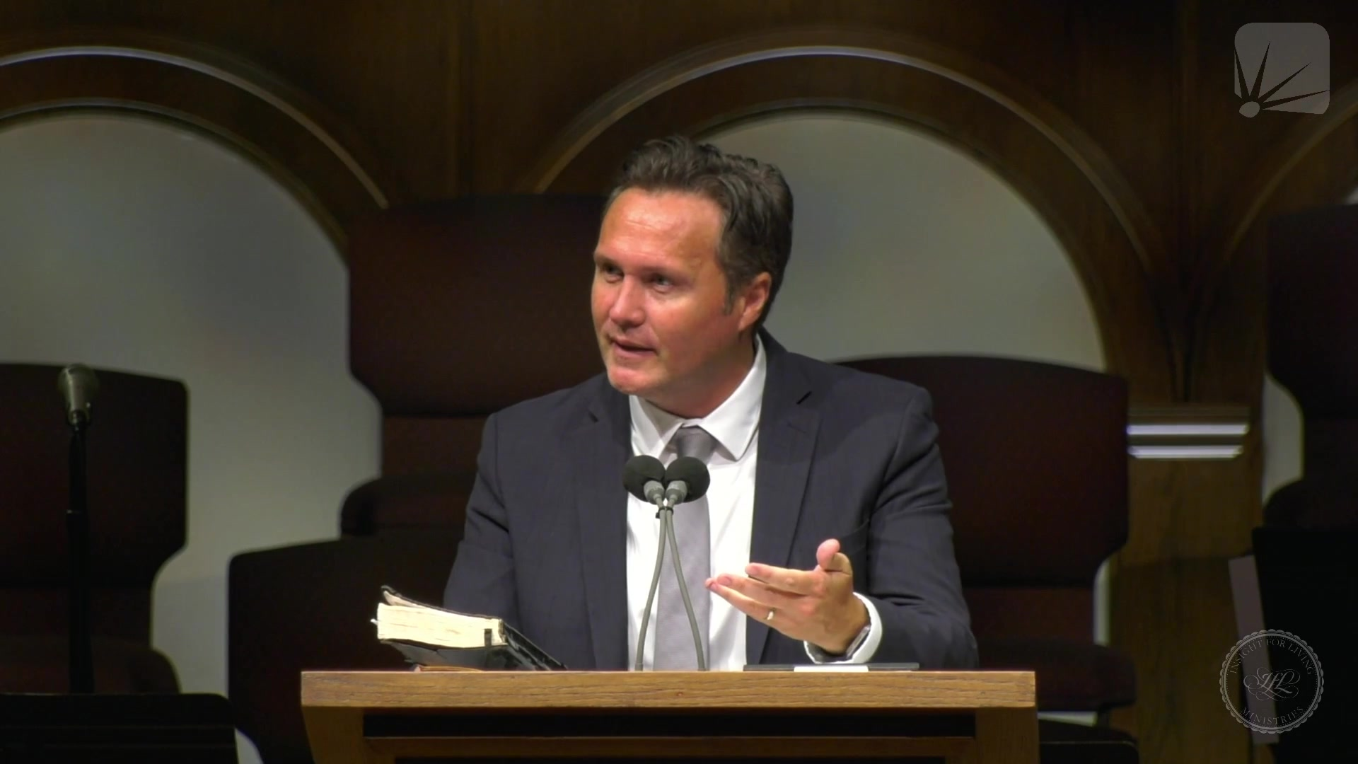 Dr. Jonathan Murphy in pulpit on 20210801